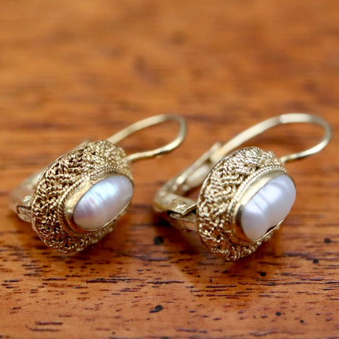 Brittania Earrings: Pearl and 14k Gold