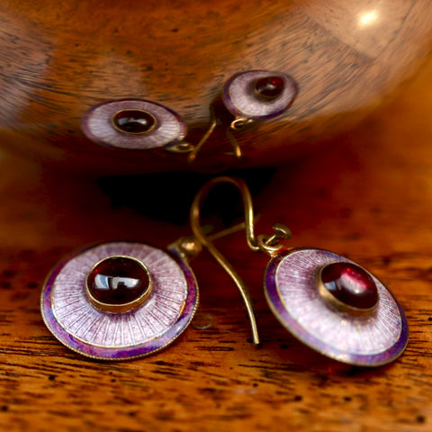 Purple Pupil Enamel Earrings