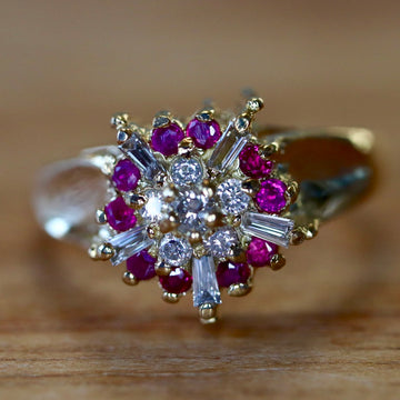 Celestial Light 14k Gold, Ruby and Diamond Ring