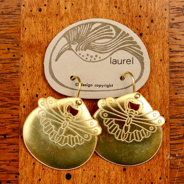 Vintage Laurel Burch Golden Moth Gold-Vermeil Earrings