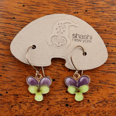 Vintage Shashi Pansy Flower Earrings