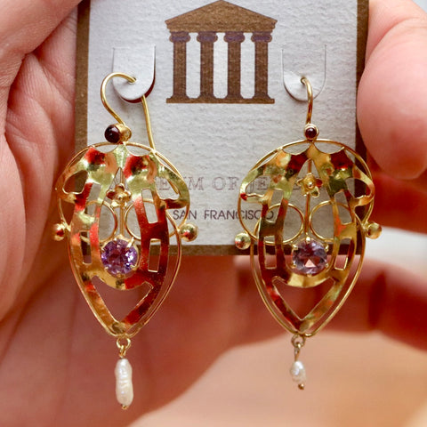 14k Lyrical Shield Earrings