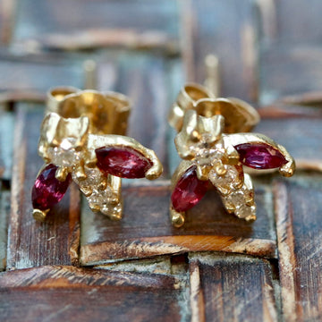 Flutter 14k Gold, Ruby and Diamond Earrings