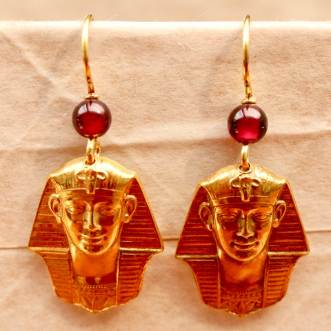 Tutankhamun Garnet Earrings