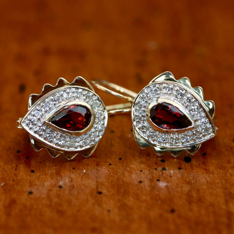 14k Heloise Garnet and Diamond Earrings