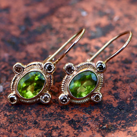 14k Diamond & Peridot Earrings