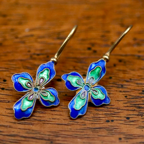 Vintage Shashi Salvia Flower Earrings
