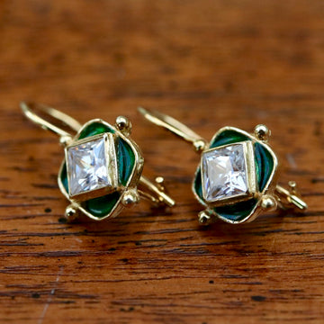 Green Forest Cubic Zirconia Earrings