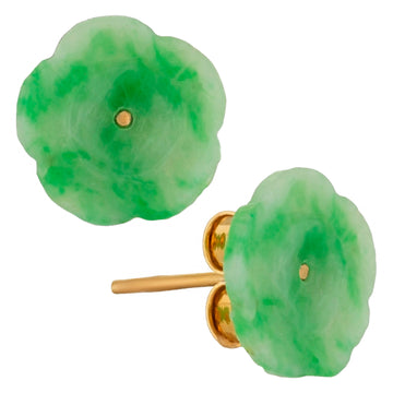 Carved Jade Flower Studs