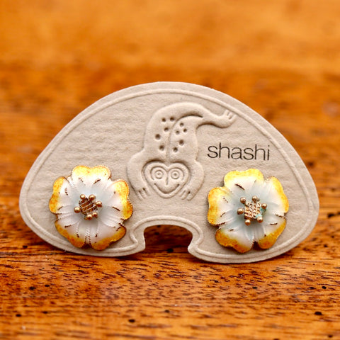 Vintage Shashi Enamel Flower Earrings