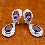 Aphrodite Earrings: Amethyst, Diamond and 14k Gold