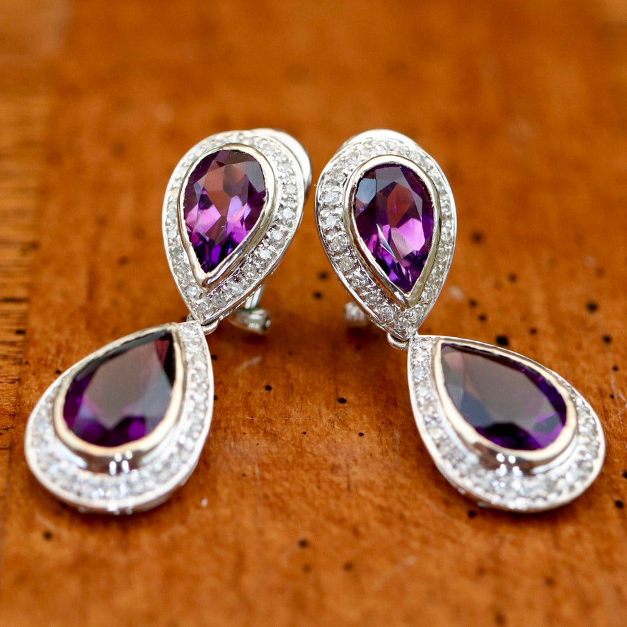 Aphrodite 14k Gold, Amethyst and Diamond Earrings