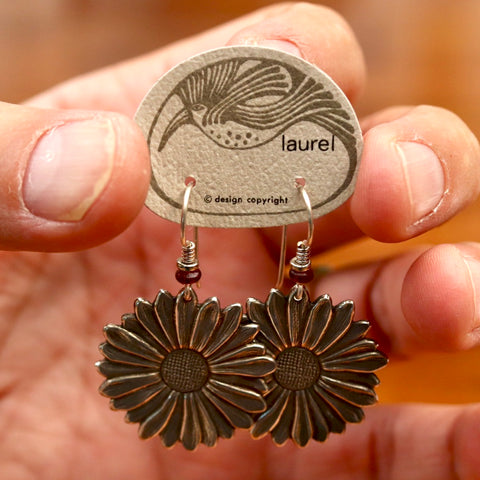 Vintage Laurel Burch Sunflower Earrings