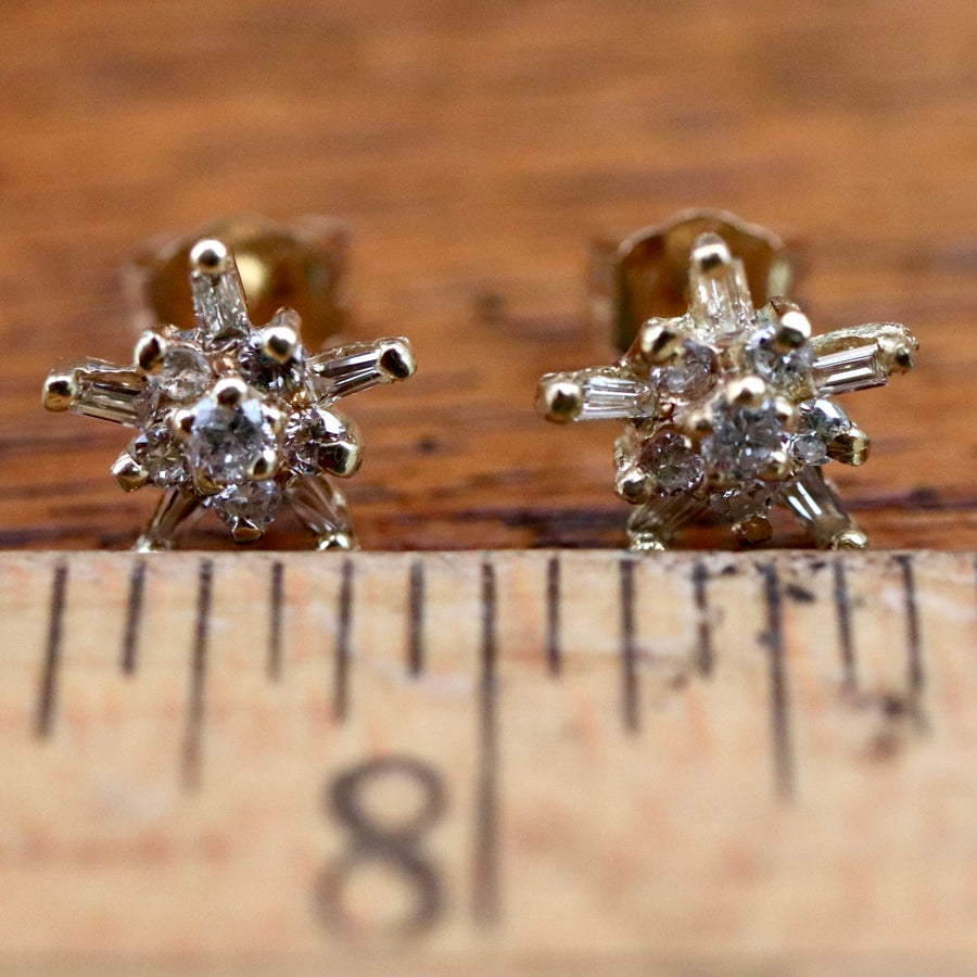 Starlight 14k Gold and Diamond Studs