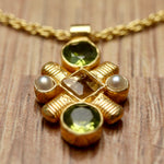 Jenny Lind Peridot, Citrine and Pearl Necklace