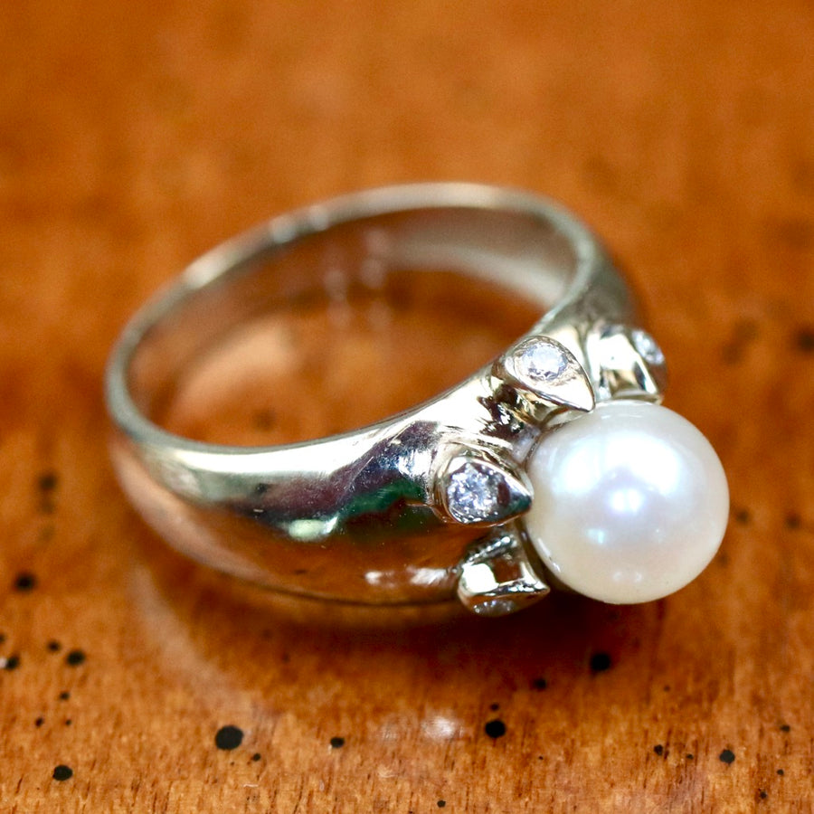 Pompeii 14k White Gold, Diamond and Pearl Ring