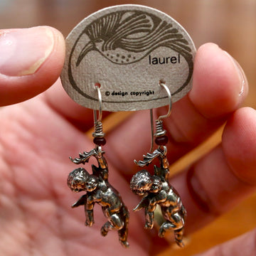 Vintage Laurel Burch Cherub Silver-Plate Earrings