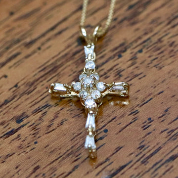 Glory 14k Gold and Diamond Cross Necklace