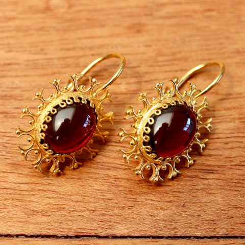 Garnet Snowflake Earrings