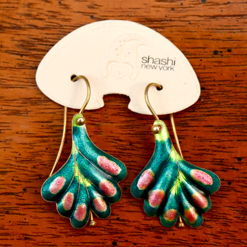 Vintage Shashi Green Frond Earrings