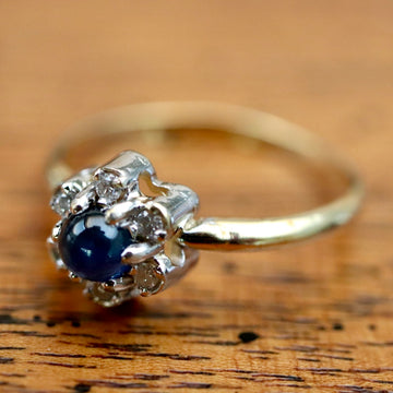 Flower 14k Gold, Sapphire and Diamond Ring