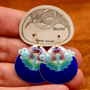 Vintage Laurel Burch Moth Royal Blue Gold-Vermeil Earrings