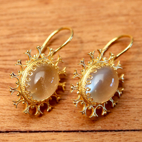 Moonstone Snowflake Earrings
