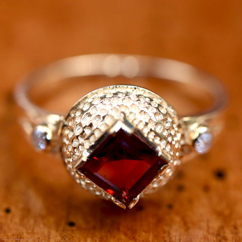 Regina Garnet and Diamond Ring