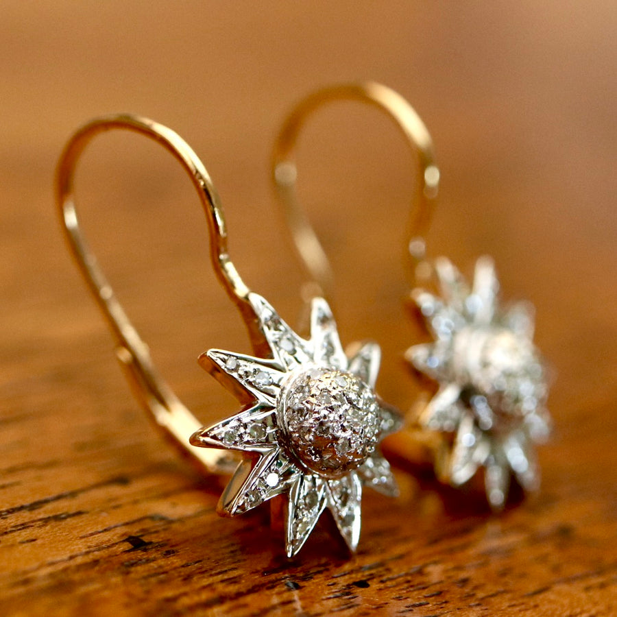 L'etoile D'amour 14k Gold and Diamond Earrings
