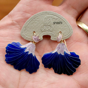 Vintage Shashi Royal Blue Iris Gold-Vermeil Earrings