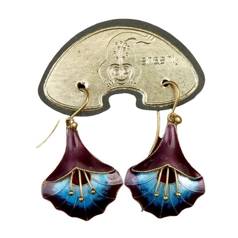 Vintage Shashi Angel's Trumpet Midnight Purple Earrings