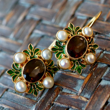 Bel Canto 14k Gold, Smoky Topaz and Pearl Earrings