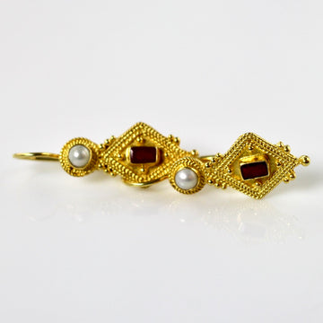 Indus Ruby and Pearl Earrings