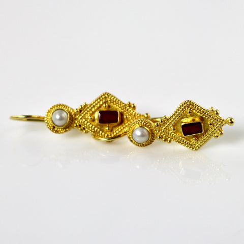 Indus Ruby & Pearl Earrings