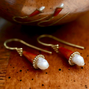 Jane Foole Enamel and Pearl Rust Earrings