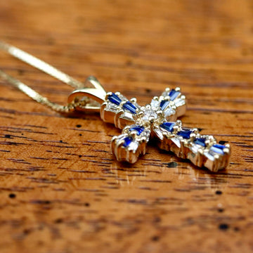 Heavenly Cross 14k Gold, Sapphire and Diamond Necklace