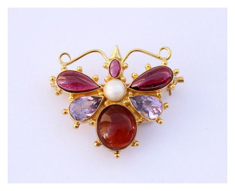 May Meadows Amethyst, Garnet, & Pearl Pin