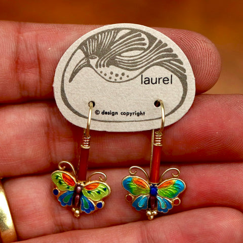 Vintage Laurel Burch Red Butterfly Gold-Vermeil Earrings