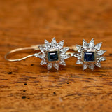 Astral Sapphire, Diamond and Gold Earrings