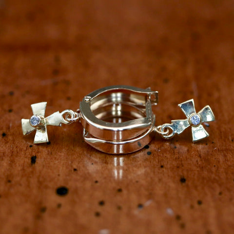 14k Santa Maria Diamond Cross Earrings
