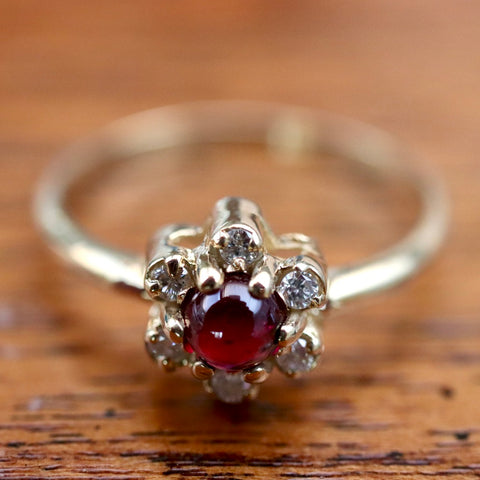 Garnet & Diamond Flower Ring