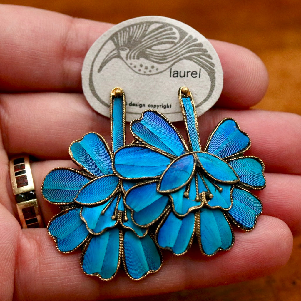 Vintage Laurel Burch Large Tian-Tsui (點翠) Flower Gold-Plate Earrings