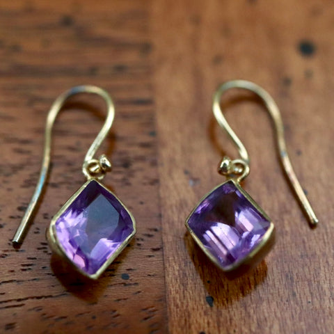 Amethyst Art Nouveau Dangle Earrings