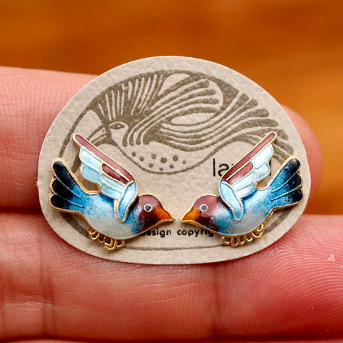 Vintage Laurel Burch Bird Blue and Maroon Gold-Vermeil Studs