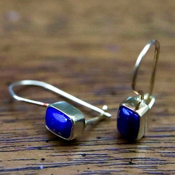 Contemporary Drop Lapis Lazuli Earrings