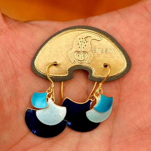 Vintage Shashi Cascading Fan Shades of Blue Earrings