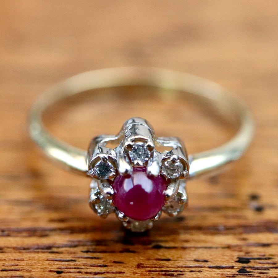 Flower 14k Gold, Ruby and Diamond Ring