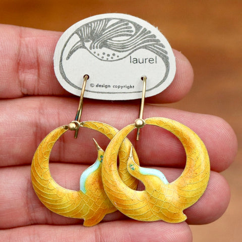 Vintage Laurel Burch Arched Crane Earrings