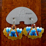 Vintage Shashi Feather Earrings with Blue Flowers