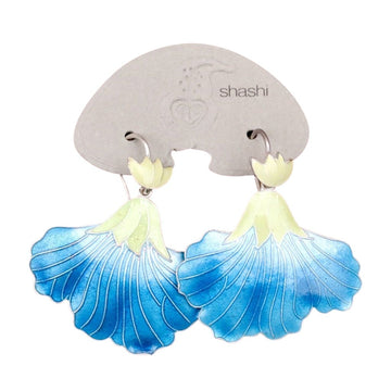 Vintage Shashi Ice Blue Iris Gold-Vermeil Earrings